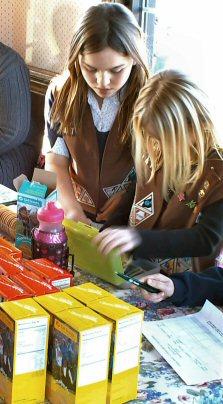 Members of Brownies Troop 71471 sell cookies Saturday (Jan. 24, 2009) at the Limerick Diner, West Ridge Pike, Royersford PA.