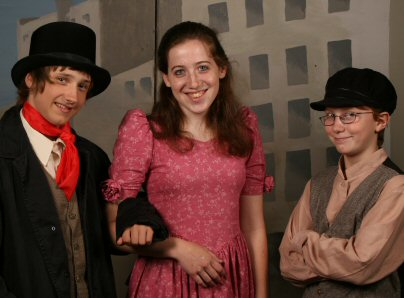 Oliver Twist, played by Tommy Bakay, right; The Artful Dodger, played by Noah Wheeler, left; and Kiera Denning as Nancy will take the stage uring the mid-August production of Oliver! The Musical in Royersford.
