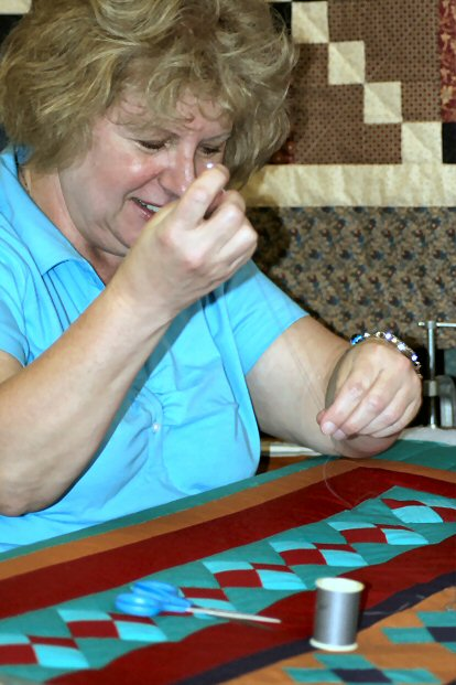 Linda Lou Fowler of Huffs Church PA demonstrated her quilting prowess.